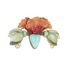 Vibrant Ilgiz Fazulzyanov brooch depicting two bugs nestling at the base of a bejewelled lily. Discover the genius of enamel in jewellery with the Russian artist and designer Ilgiz F: http://www.thejewelleryeditor.com/jewellery/article/ilgiz-f-jewellery-exhibition-at-annoushka-london/ #jewelry