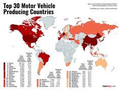 Top 30 Motor Vehicle Producing Countries, 2016. Motor Car, Motor Vehicle, Blue Green Eyes, Indian Language, Rugs On Carpet, Maps, Country, World, Vehicles