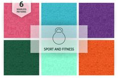 Sport Fitness Line Seamless Patterns by Anna_leni on Creative Market