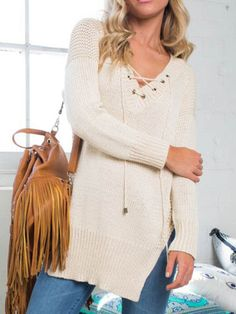 Cream V-Neckline Lace Up Slit Side Long Sleeve Knit Sweatshirt