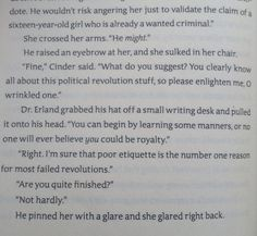 Lol, Cinder from the Lunar Chronicles is hilarious