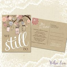 Vow Renewal Postcard - We Still Do -  Blush Pink Mason Jar Vow Renewal Invitation - Burlap and Mason Jar Vow Renewal Invite -5001 -PRINTABLE...