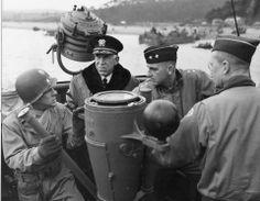 Invasion rehearsal off the coast of England,  May 1944 - From the left : Maj. Gen Charles H. Gerhardt (29th ID commander), R. Adm John L. Hall, Maj. Gen Leonard T. Gerow.