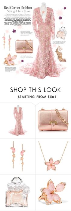 """Red Carpet: Stream of Flowers."" by tjclay3 ❤ liked on Polyvore featuring Naeem Khan, Aspinal of London, Stephen Webster, Guerlain, Dsquared2, RedCarpet and floral"