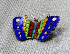 Vintage 1940's Siam Sterling Silver Blue Enamel Butterfly Brooch