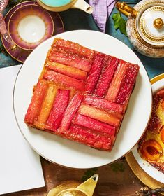 6 Mother's Day Cakes That Are Fabulous and Fuss-Free | Like the cake, your world is about to turn upside down. This scrumptious dessert requires just 15 minutes of hands-on time, then leave it to the oven to bake your cake to perfection. #recipes #recipeideas #realsimple #dessert #dessertrecipes Rhubarb Desserts, Rhubarb Recipes, Köstliche Desserts, Dessert Recipes, Diabetic Cake Recipes, Rhubarb Upside Down Cake, Metallic Cake, Canned Pears, Sugar Consumption