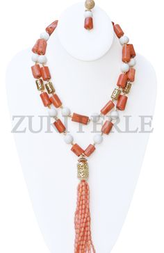 Zuri Perle - ZPP303 - Peach White Coral Beads African Nigerian Wedding Jewelry Sets, $220.00 (http://www.zuriperle.com/women/zpp303-peach-white-coral-beads-african-nigerian-wedding-jewelry-sets.html/)