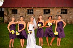 Great purple bridesmaid dresses.  Love how the girls are not standing in traditional poses either.