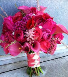 Hot pink wedding bouquet. All pink. Bridal. Pink wedding. Coxcomb, callas, roses, ranunculus.