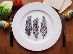 Hand Painted Porcelain Dinner Plate - Blue and Red Feathers Drawing - White Ceramic. via Etsy. Porcelain Pens, Painted Porcelain, China Porcelain, Feather Drawing, Pottery Painting Designs, Paint Your Own Pottery, Sharpie Art, Ceramic Tableware, Plate Art