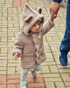 Sweet Baby Hoodie - Free Pattern (Crochet For Children) Crochet Baby Poncho, Crochet Baby Sweaters, Crochet Coat, Baby Girl Crochet, Crochet Baby Clothes, Crochet Jacket, Crochet For Boys, Baby Knitting Patterns, Baby Patterns
