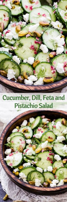 Cucumber, Dill, Feta and Pistachio Salad.