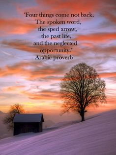 Four things come not back. The spoken word, the sped arrow, the past life, and the neglected opportunity. – Arabic proverb                                                                                                                                                     More