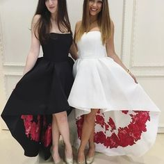 Strapless High Low Black Prom Dress Formal Evening Dress White Prom Dress