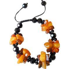 Baltic Amber with Black Onyx Bracelet