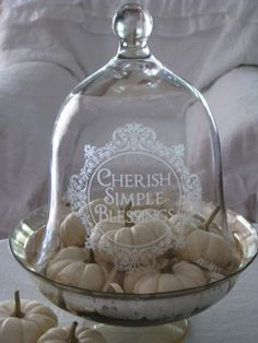Cloche with little white pumpkins. Cherish Simple Blessings