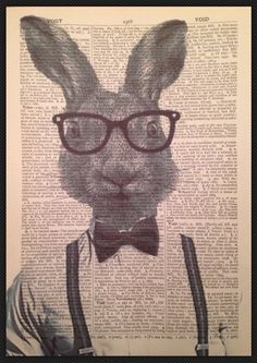 VINTAGE HARE RABBIT PRINT PICTURE Dictionary Page Art Quirky Animal Bow Tie in Home, Furniture & DIY, Home Decor, Wall Hangings | eBay #hare #rabbit #humanized #animal #anthropomorphic #hipster #grey #picture #print #wallart #bowtie #affordable #3for£10 #ebay #art #quirky #ideas