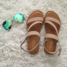 Nude suede sandals ☀️ The Perfect nude sandals  to go with any spring and summer outfit ☀️! New without box. Has a faux suede type material- all man made material. Adjustable strap holes. True to size. *comment down below to purchase, serious inquiries only! PRICE IS FIRM, also available in sizes 7-10 thanks for looking Shoes Sandals