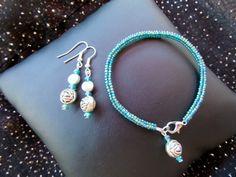 Parure Bracelet et boucles d'oreilles perles tissées Bleu paon et Rose argentée : Bracelet par ma-petite-boutik