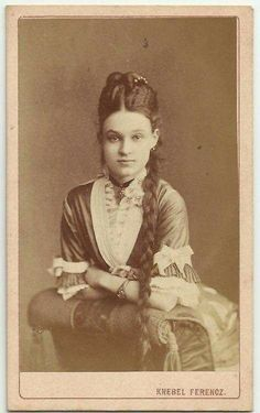 """""""Woman with Braided Hair An 1880 CDV . she is approximately 19 in this picture, and her fiancée was about Such a sassy look! Victorian Photos, Antique Photos, Vintage Pictures, Vintage Photographs, Old Pictures, Victorian Era, Vintage Images, Old Photos, Victorian Hair"""