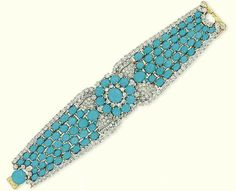 TURQUOISE AND DIAMOND BRACELET, BY CARTIER   The central cabochon turquoise and diamond cluster with pavé-set diamond leaves and baguette-cut diamond detail to the graduated turquoise bracelet with brilliant-cut diamond border and turquoise and diamond cluster clasp