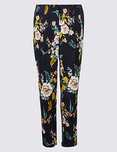 M&s Collection Floral Print Crepe Slim Leg Trousers