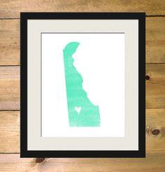 Delaware Watercolor State Map Personalized Art Print