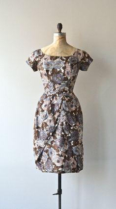 Sketched Bouquet silk dress vintage 50s dress silk