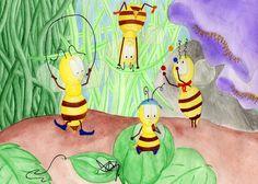 Honey bees playing - Watercolour (sold) by Sandra Herrgott