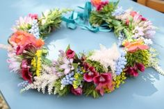 Circlet flower crown of sweet william, muscari, astillbe and solidago by www.floralcircus.co.uk