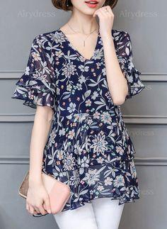 Floral De época Poliéster Escote en V Manga corta Camisas (1052750) @