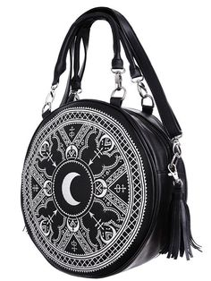 Restyle Gothic Occult Henna Round Bag Black Faux Leather Moon Handbag