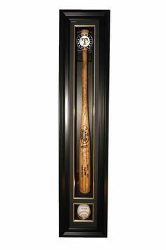 aaa sports memorabilia llc texas rangers cabinet style single baseball and bat display black