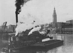 Dredging the Cuyahoga River shipping channel, 1947