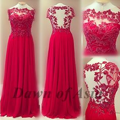 Long prom dress  red prom dress / lace prom dress / by DawnofAsia, $138.00  :) Amazing! Nature is on the dress!