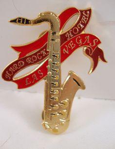 Hard Rock Cafe Hotel Pin Las Vegas Saxophone Gold & Red