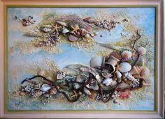 Купить флористический коллаж, панно,интерьерная картина - бежевый ... Mixed Media Canvas, Mixed Media Art, Mix Media, Bracelet Storage, Organiser Box, Seashell Crafts, Shell Art, Crafts To Sell, Quilling