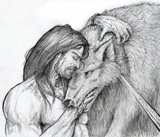Tyr & Fenrir - Tyr knows that he cannot stop Ragnarök, & he may feel that he is betraying his pet, but he is the only one who can accomplish what is required & his oath to his comrades is older than the compassion he shares with Fenrir, who is feared by all other Aesir. Tyr binds him & willingly pays the price. He knows he will lose his hand in the process. He does not flinch.   A sad story from Norse legend.