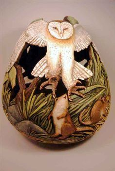 Gourd Art by Phyllis Sickles Decorative Gourds, Hand Painted Gourds, Decorative Crafts, Deco Nature, Navajo, Gourd Art, Owl Art, Pyrography, Wood Carving