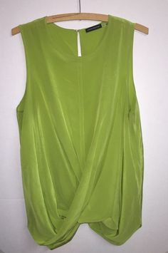 Josie Natori Neiman Marcus Sz L Silk Round Neck Sleeveless Drape Twist Blouse #JosieNatori #RoundNeck #NeimanMarcus #silk #green #shortsleeve #women #work #weartowork #fashion #style #wardrobe #beautiful #Keyhole #twist #Drape #rvatreasures