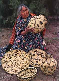 Apache woman with her basketry