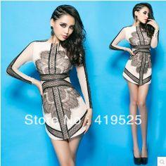 Aliexpress.com : Buy Top Quaity   Best Choice Eyelash Black &Nude Lace Mesh Long Sleeve Embroidery Sexy Slim Chiffon Chic Dress EC001B Free ...