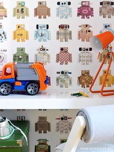 Boys room Kidsroom Jongenskamer JONGInterieur.nl robot behang
