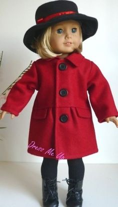 Doll Clothes Red Wool Coat Hat Fit American Girl Dolls 903N | eBay