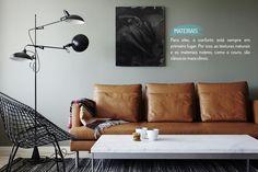 Decoração de: Sala de estar - sofá de couro; Casa de Valentina