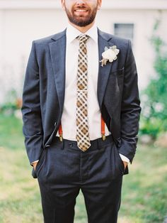 Fall Wedding with Eclectic Charm - Groom's Attire   On SMP:  http://www.StyleMePretty.com/2014/03/06/fall-wedding-at-cherry-basket-farm/ Photography: Michelle March