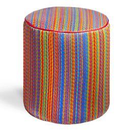 Stripe Indoor/Outdoor Pouf Ottoman - Multicolor