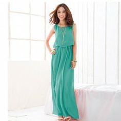 $10.67 Refreshing Style Solid Color Sleeveless Faux Twinset Chiffon Maxi-Dress For Women