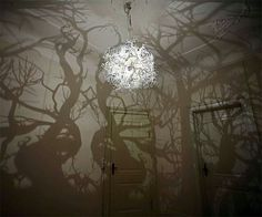Projection Light, shadows of trees. i think this could be very effective