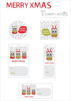 Merry XMAS Owl Free Gift Tags Pinned by www.myowlbarn.com